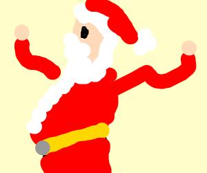 Santa waves his tiny, pathetic arms