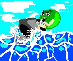 Green M&M's on jetski