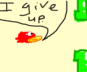 Red flappy bird giving up