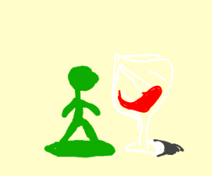 Toy soldier with a wine glass.