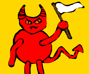 Demon with flag