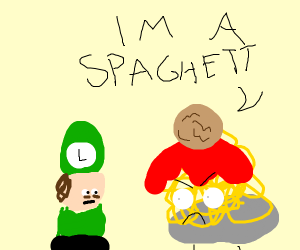 Luigi finds the Spaghetti Monster