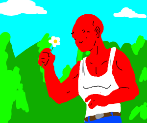 Red cute muscular man holdig a flower