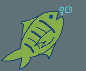 Green Fish swimming up