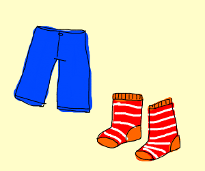 blue pants and stripped red socks