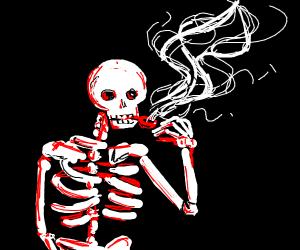 a skeleton smoking a pipe