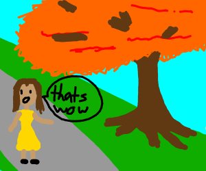 """woman thinks a autum tree is """"wow"""""""