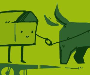 Cardboard box walking a dog