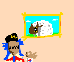 a framed picture  of Wooloo