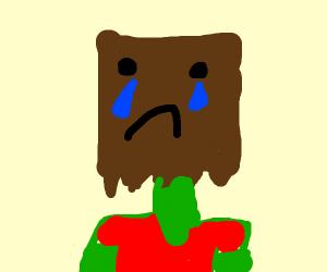 man turns away sad baghead