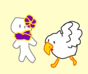 stick figure with a weird chicken
