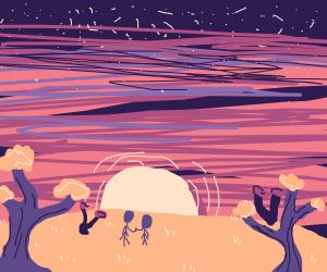 sunset on alien planet