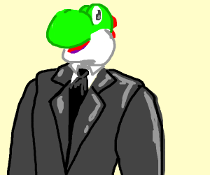 Yoshi in a suit