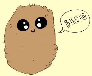A coconut speaking gibberish