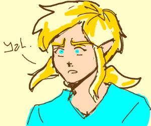 "Link of the legend of Zelda saying ""yah"""