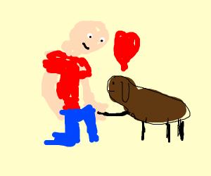 A man greets his small doggo and loves him