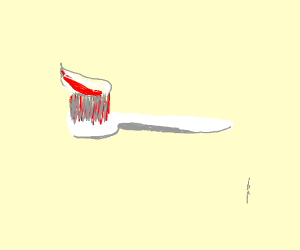 Tooth paste on toothbrush
