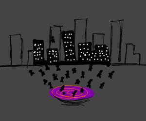wormhole opens in city, sucks in crowd