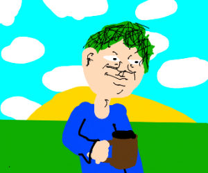 Green hair man and his hot chocolate w/ grass