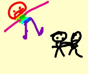 rainbow colored superhero boys fighting