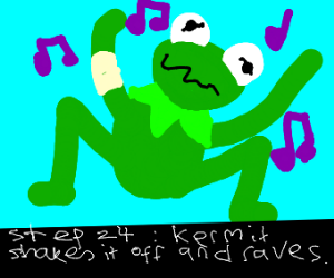 Step 23: Kermit falls and he gets hurt