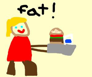 fat woman eating hamburger