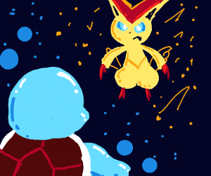 Squirtle used Water Gun against Victini
