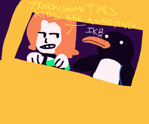 woman driving a car with a penguin