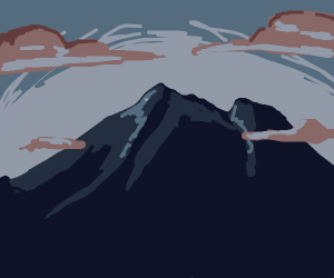 a dark mountain with brown clouds