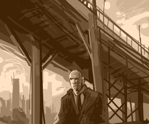 awesome oil painting of bald guy under bridge