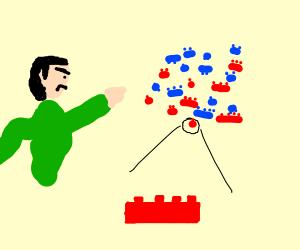 Kid throws legos