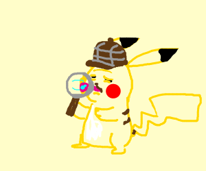 detective pikachu licking magnifying glass