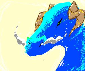 Dragon breathing smoke