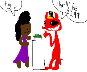 African woman buys salad from demon at McD