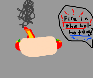FIRE IN THE HOL-...hot dog?