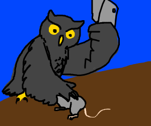 Owl butchering a mouse on a log