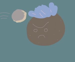 Blue haired potato being hit by a rock