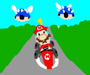 Two Blueshells from Mario Kart