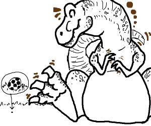 Giant dinosaur looking at tiny soccer ball