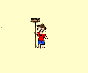 Kid with a broom