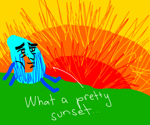 Drawception D lookin at sunset