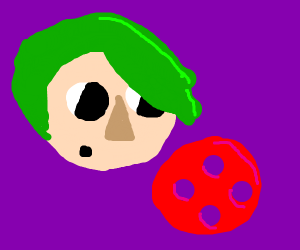 Boy with green hair sees red button