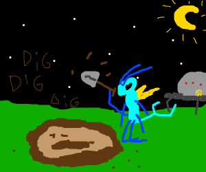 Insectoid alien digs a hole