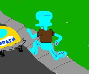 Squidward missed his taxi