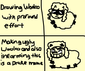 Drake meme but with Wooloo