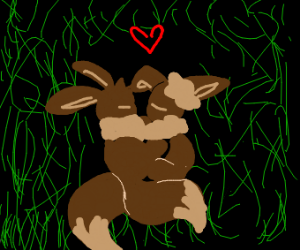eevees snuggling together in the grass