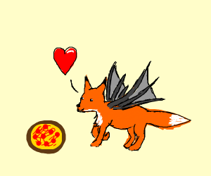 fox/dragon hybrid in love with pizza