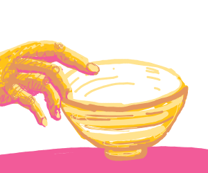 Touching a ceramic bowl