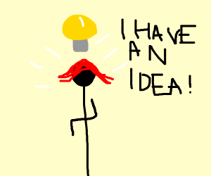 girl with short red hair has an idea!