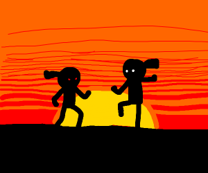 karate fight in front of a red sunset